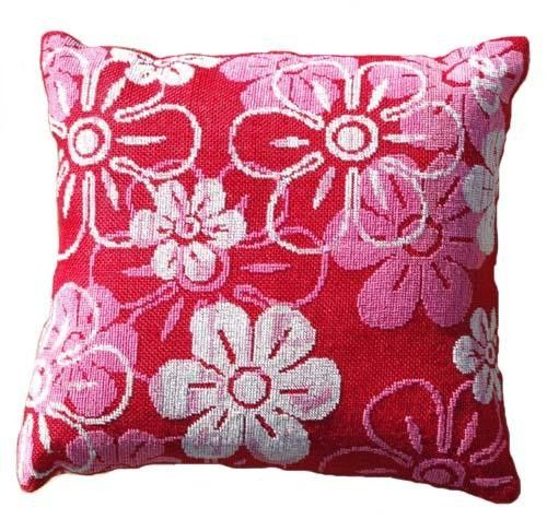FLOWER  Red Pillow case Pdf pattern for cross by anetteeriksson, $7.50