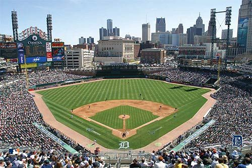 Detroit Tigers Stadium, field and Detroit skyline