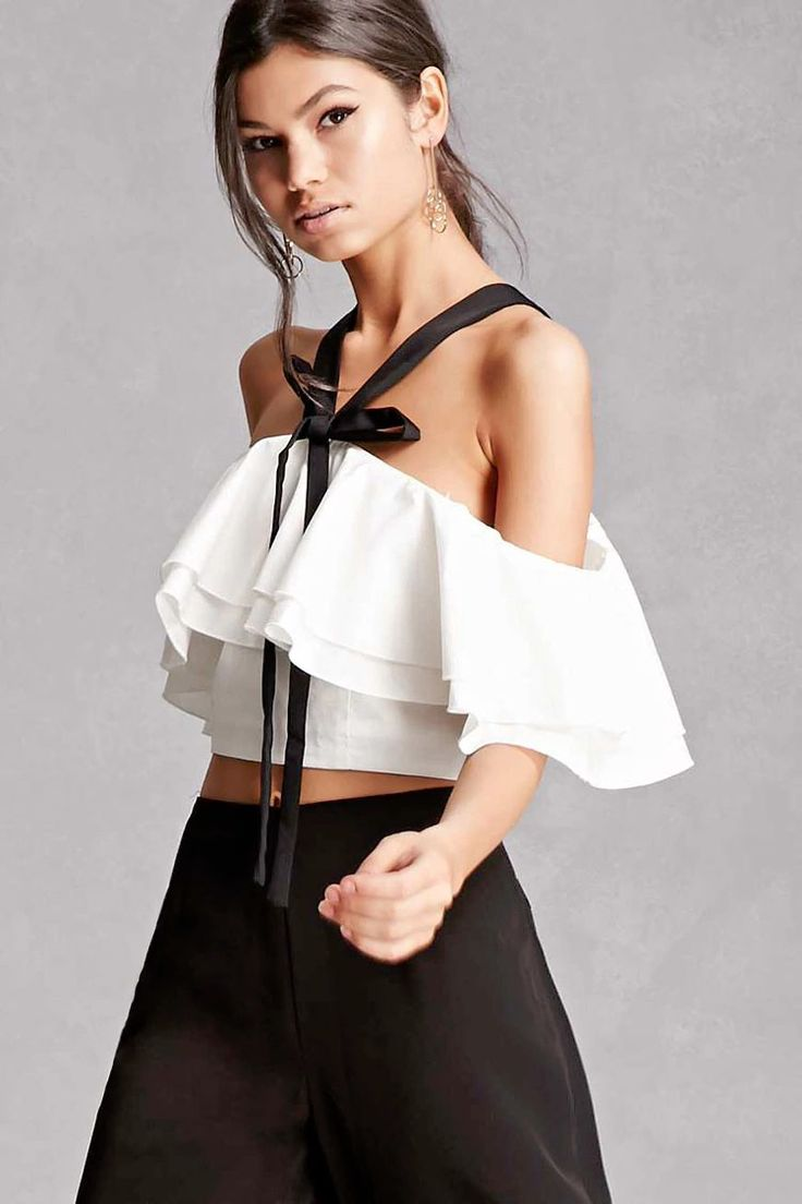 An off-the-shoulder crop top by Endless Rose™ featuring a flounce layer, a contrast halter neckline, self-tie bow front, short sleeves, and an exposed back zipper.