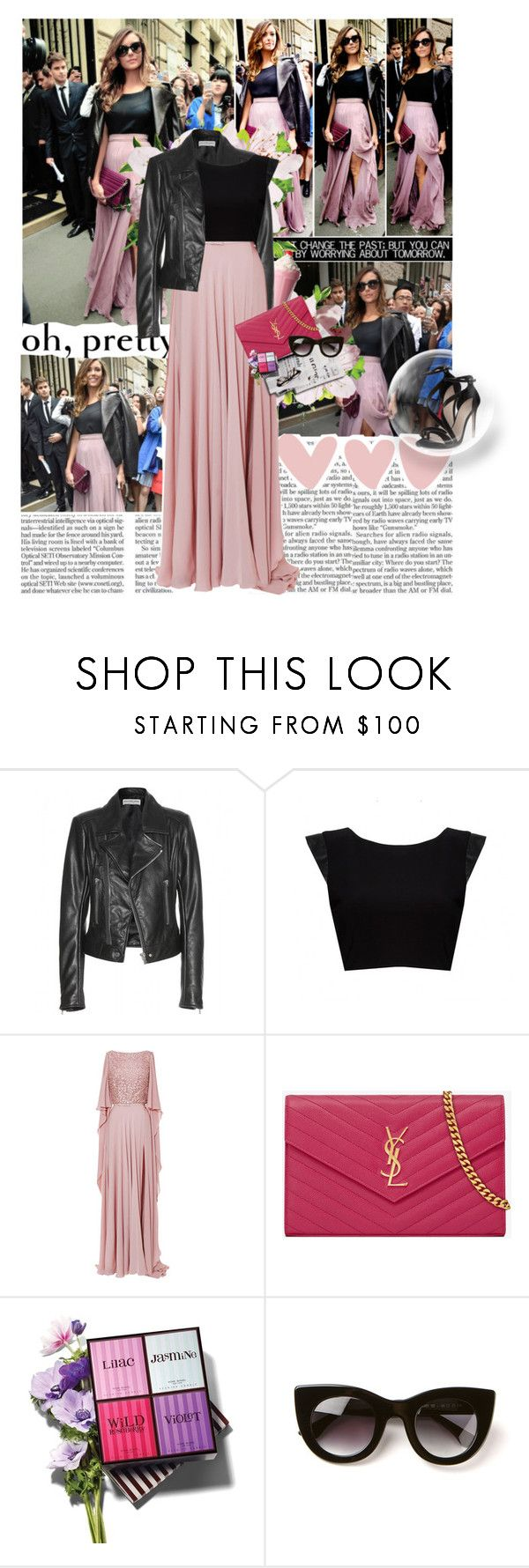 """Get the Look: Nina Dobrev (Paris Fashion Week)"" by jesssilva ❤ liked on Polyvore featuring Elie Saab, Balenciaga, Alice + Olivia, 7 For All Mankind, Yves Saint Laurent, Henri Bendel, Thierry Lasry, Carvela, GetTheLook and NinaDobrev"