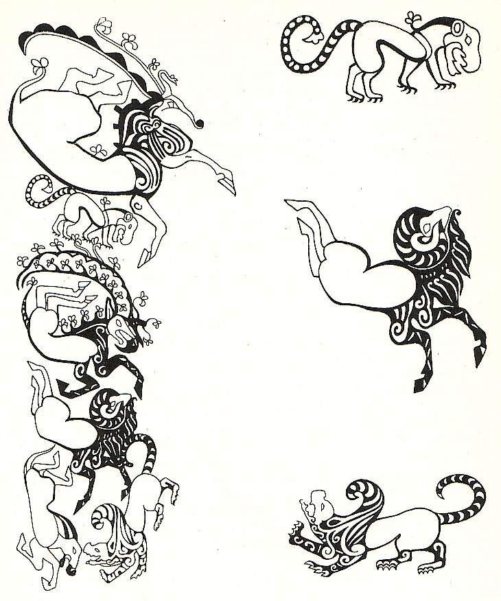 some tattoos from the Pazyryk Chieftan burial                                                                                                                                                     More