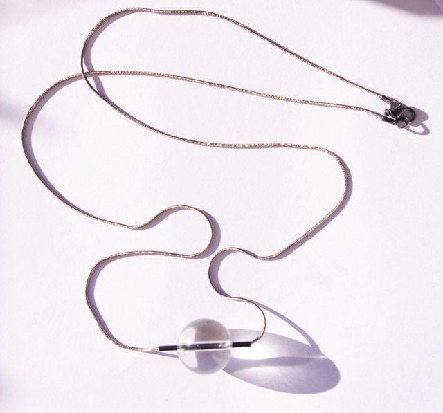 Glas Klot Grå Kedja  - Halsband