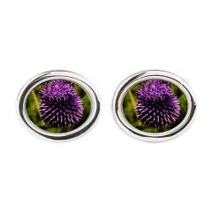 Purple Thistle Oval Cufflinks