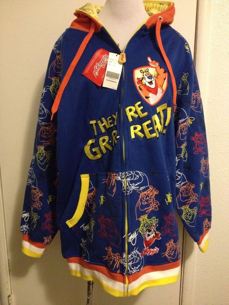 "Fabulous NWT Mens ""Tony The Tiger"" Kelloggs Frosted Flakes Hooded Jacket  GW78"