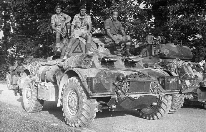 Staghound of Div Cavalry Regiment, 2nd New Zealand Division, 31 May 1944. These men were part of the security detail for visiting New Zealand Prime Minister Peter Fraser