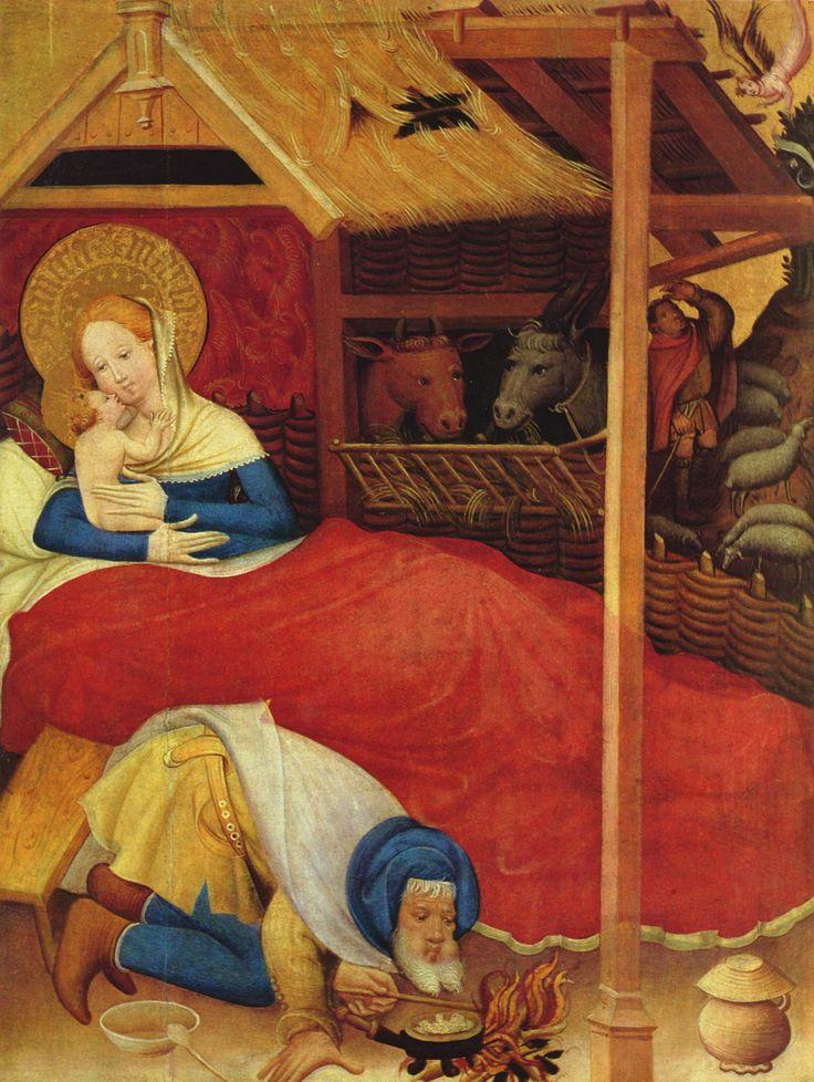 Conrad von Soest. Nativity,1403, from the Niederwildungen Altarpiece in the Stadtkirche, Bad Wildungen, Germany. 2,024×2,691 pixels