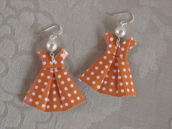 Orange Polka Dot Origami Dress Earrings ❤