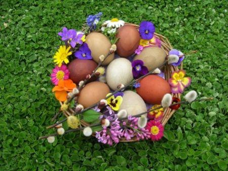 Easter Basket Desktop | Easter basket - Easter, photography, eggs, basket, still life