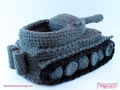 PATTERN for Tiger 1 Tank  - Panzer Crocheted Slippers by miligurumis on Etsy https://www.etsy.com/listing/108449743/pattern-for-tiger-1-tank-panzer
