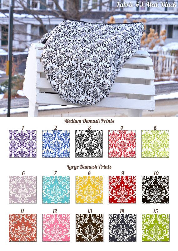 MADE TO ORDER Damask Print Saddle Cover Many Colors
