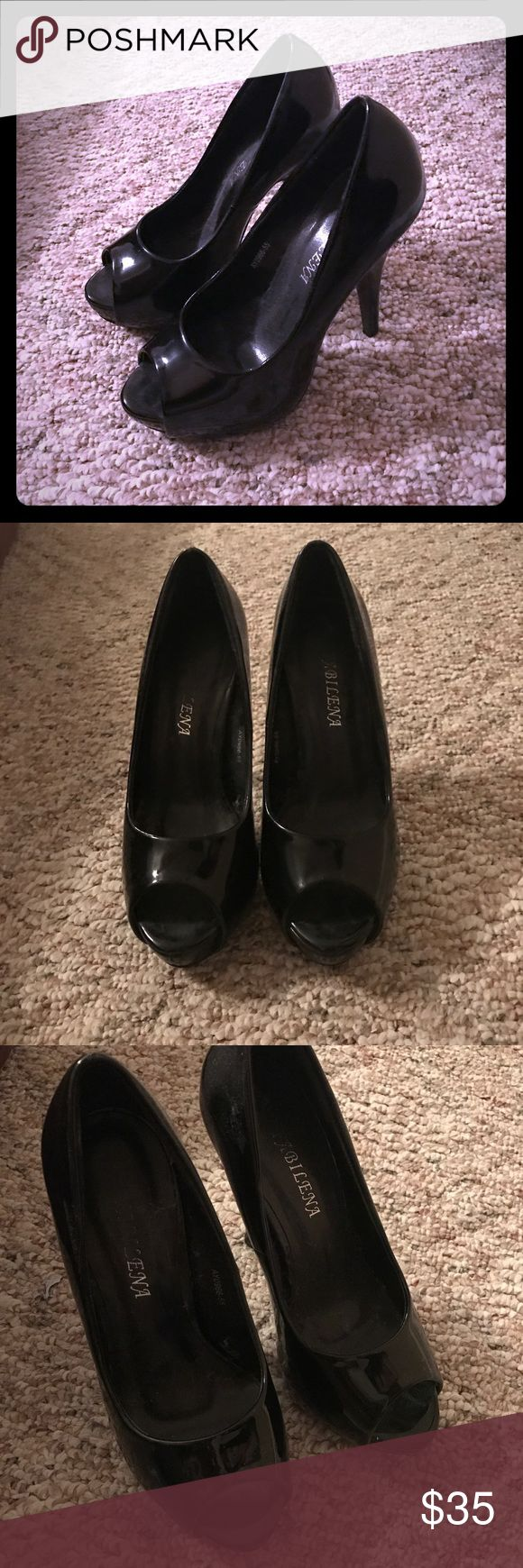 Black peep toe pumps Never worn black patent leather peep toe pumps Shoes Heels