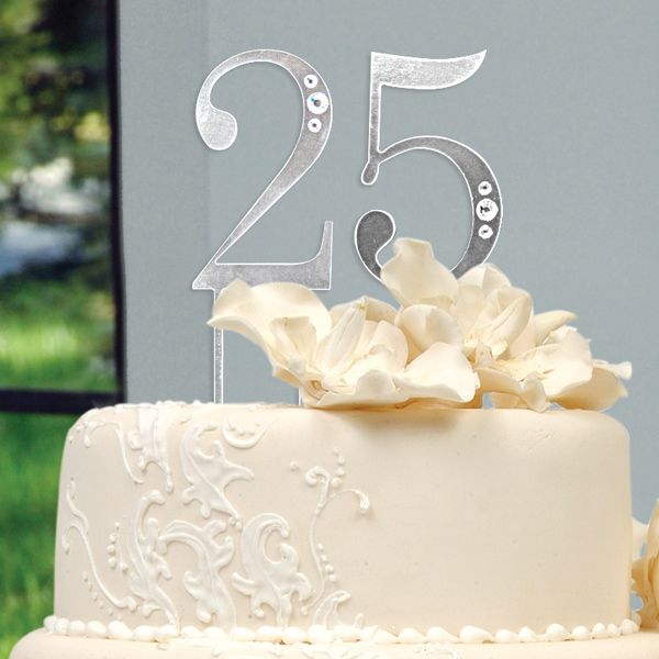 25th Wedding Anniversary Cake Toppers Any Number Birthday Cake