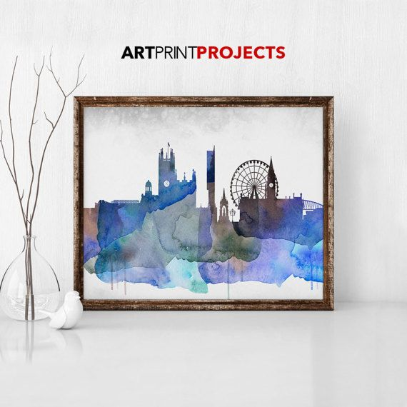 Manchester Skyline Manchester England by ArtPrintProjects on Etsy