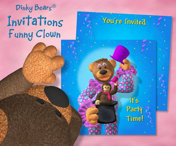 Funny Dinky Bears Clown with Monkey in Hat Invitations  by DinkyPrints at Etsy