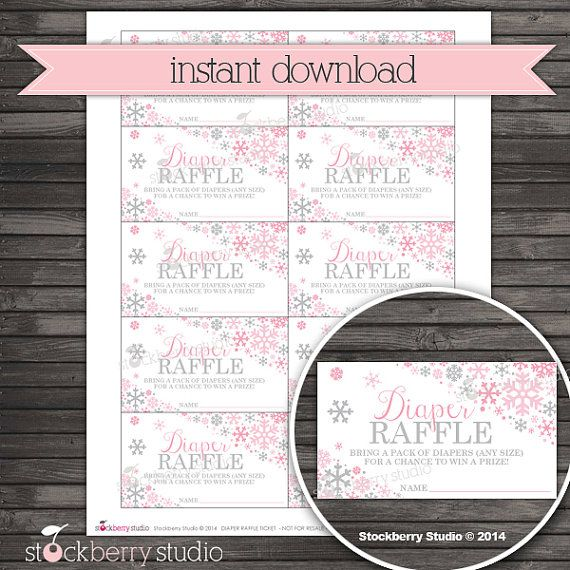 Winter Baby Shower Diaper Raffle Tickets by stockberrystudio
