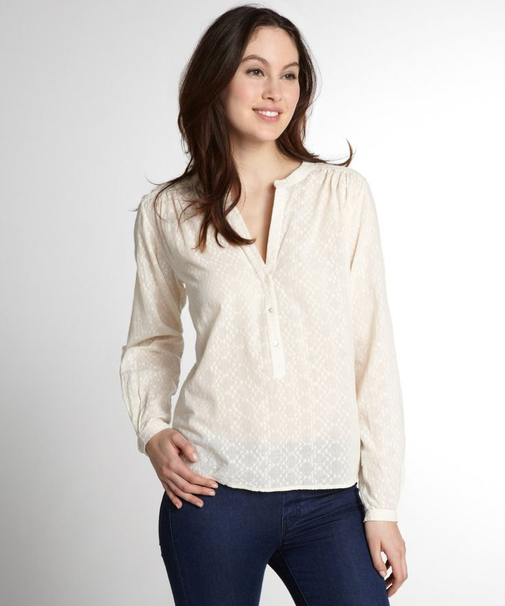 Love Sam women's ivory ls button down patterned blouse