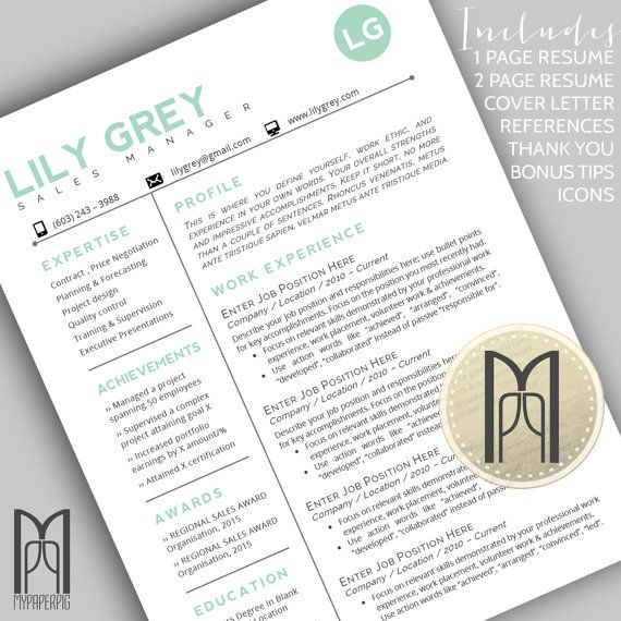 RESUME 4 PACK {No. 30 - MINT lily grey}  Templates are FULLY CUSTOMIZABLE in MS Word & as instant downloads IMMEDIATELY AVAILABLE after purchase.