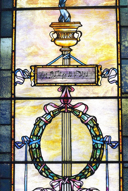 Tiffany stained glass window detail: Musical Notes, George L. Beecher House, Detroit MI