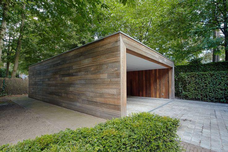 Moderne carport in hout | Bogarden