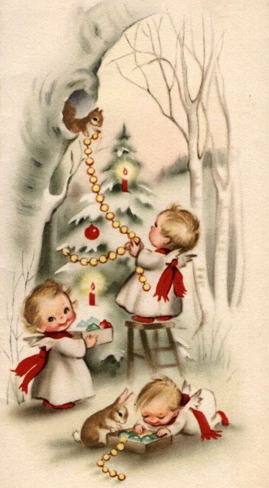 Vintage Angels Christmas Postcard...Trimming a tree for Christmas,with the help of the animals.