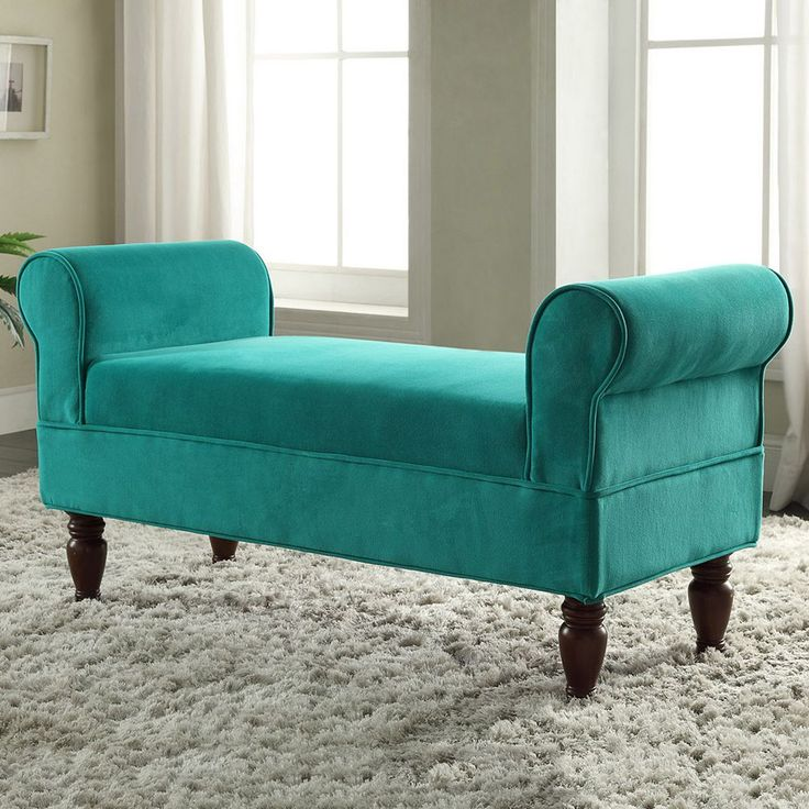 Linon Lillian Teal Bench, Blue