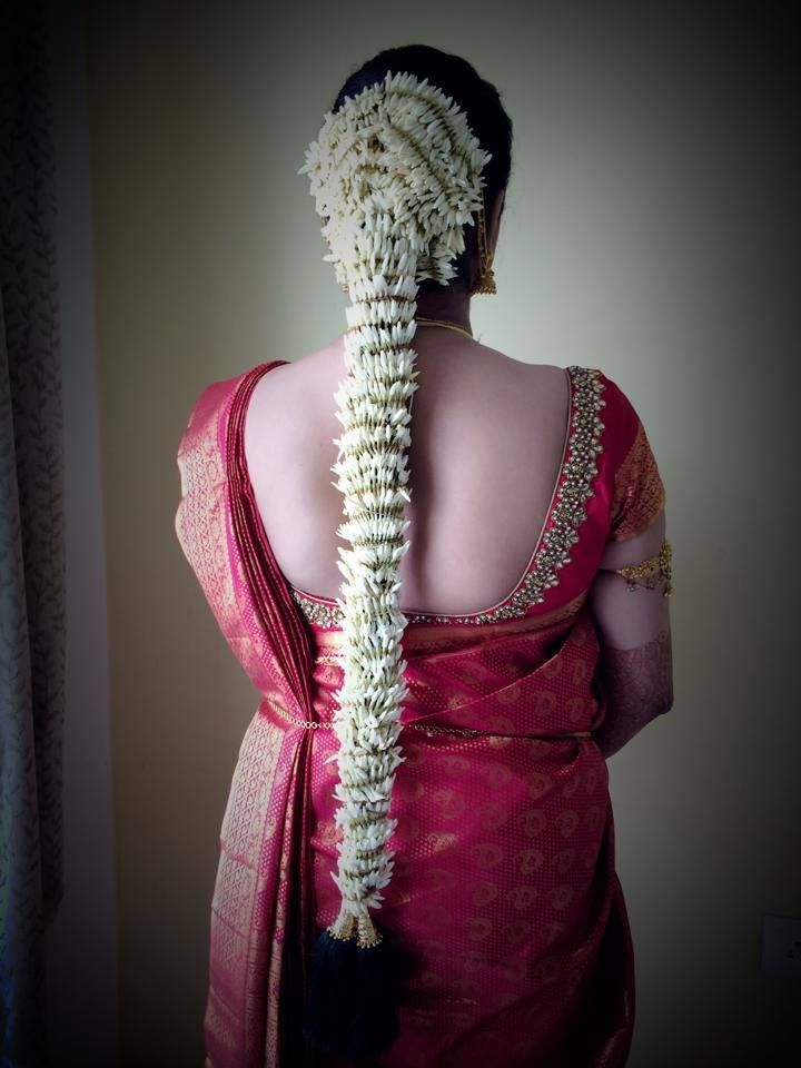 Traditional Southern Indian bride's bridal braid hair. Bridal flower hair. Hairstyle by Swank Studio. Find us at https://www.facebook.com/SwankStudioBangalore #Saree #Blouse #Design