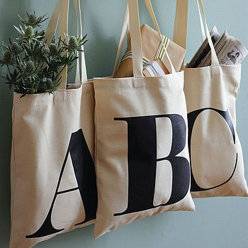 Personalised Initial Cotton Tote Bag  by Alphabet Bags