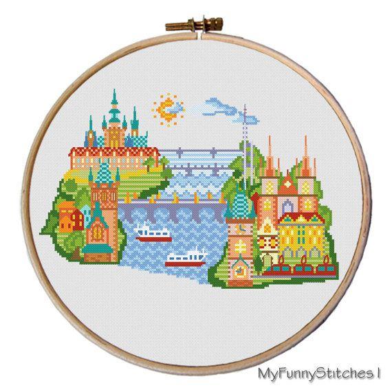 This modern cross stitch pattern of Prague, Czech Republic. Features the Charles Bridge, Prague Astronomical Clock, Old town hall, Powder Gate,