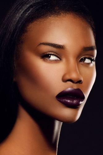 Dark Berry Lipstick On Brown Skin