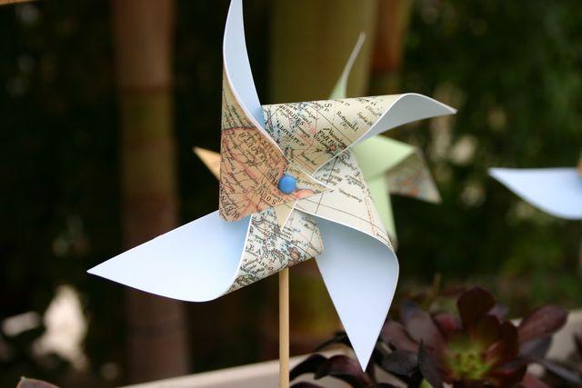 Pinwheels made out of maps #pinwheels