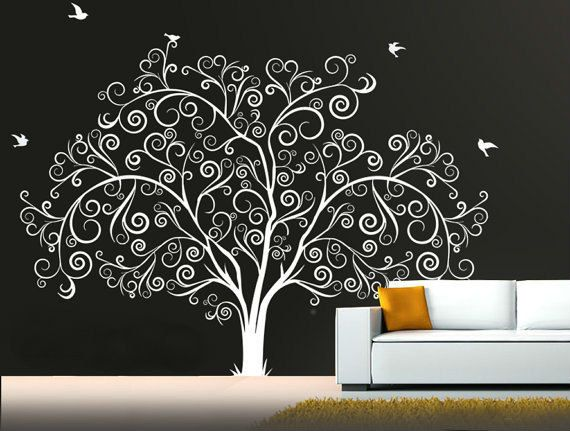 large personalized family tree decal vinyl wall decal tree. Black Bedroom Furniture Sets. Home Design Ideas
