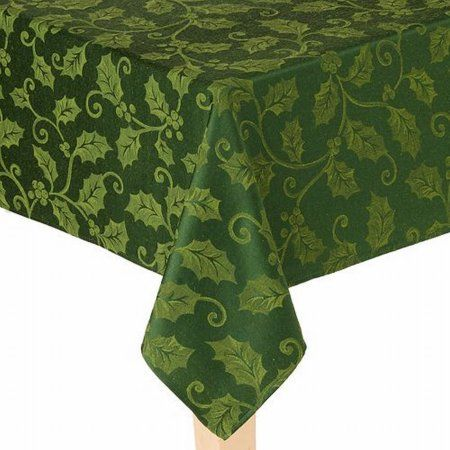St Nicholas Square Rich Green Holly Tablecloth Fabric Table Cloth 60x84 Ob