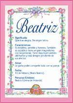 Beatriz - Nombres, El significado de los nombres, Tu nombre, Tarjetas postales TuParada.com