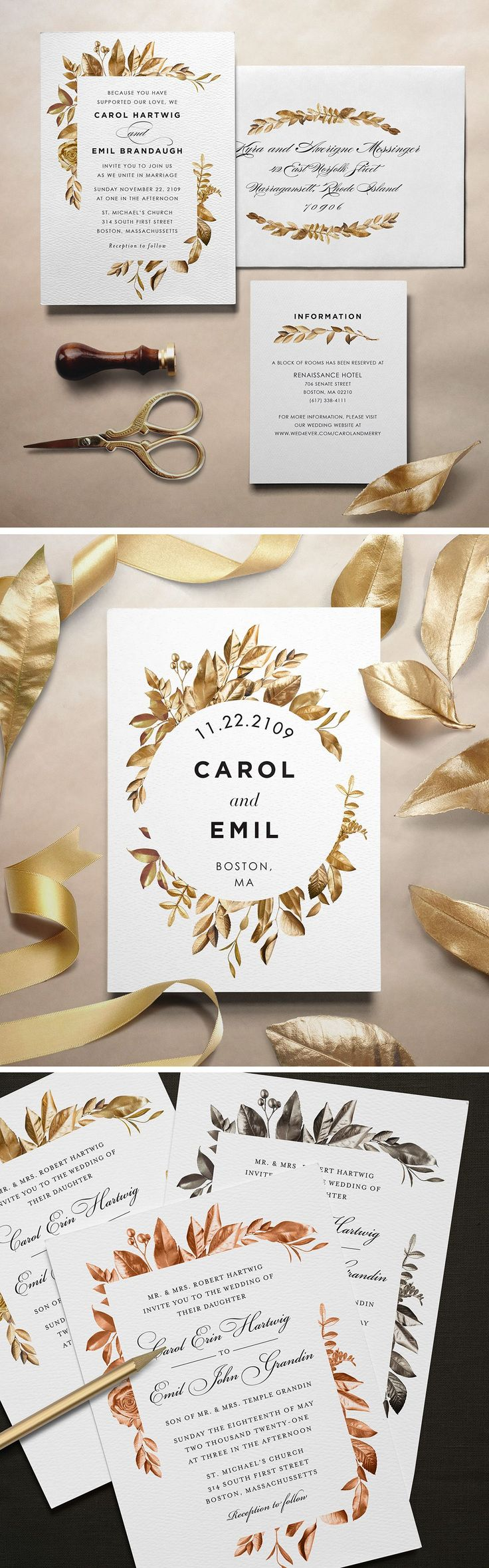 Printable Press Gold Leaf Classic Design Invitation