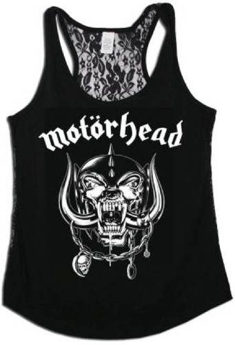 Motorhead Women's Tank Top T-shirt - Motorhead War Pig Snaggletooth Logo | Black Shirt