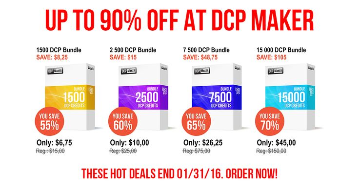 It's time to use the best service from the DCP Maker. Save up to 90% off through the end of the January! But hurry, these offers expire 01/31/16!  https://dcpmaker.com/promo/bundle50/