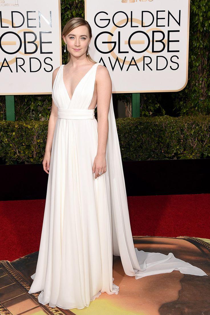 V.F.'s Best-Dressed 2016 Golden Globes | Saoirse Ronan in a white Saint Laurent Paris gown.