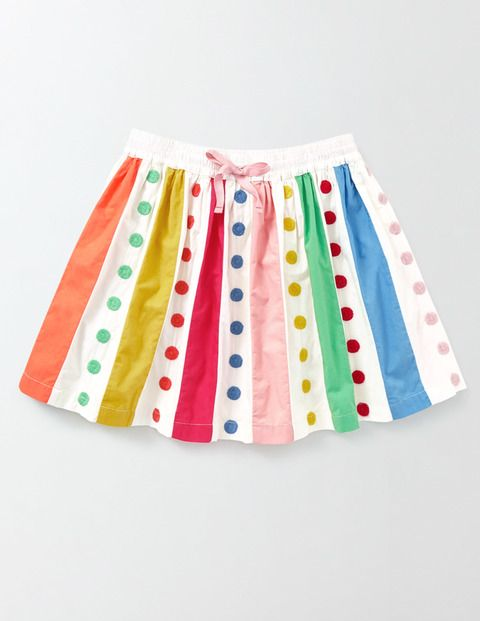 Twirly Rainbow Skirt (Ivory/Rainbow Spot)
