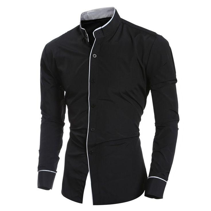Camisa de los hombres ocasionales de la camisa blanca camisa masculina de algodón Slim Fit de manga larga de color sólido Hombres jóvenes moderna de moda Look # 94649