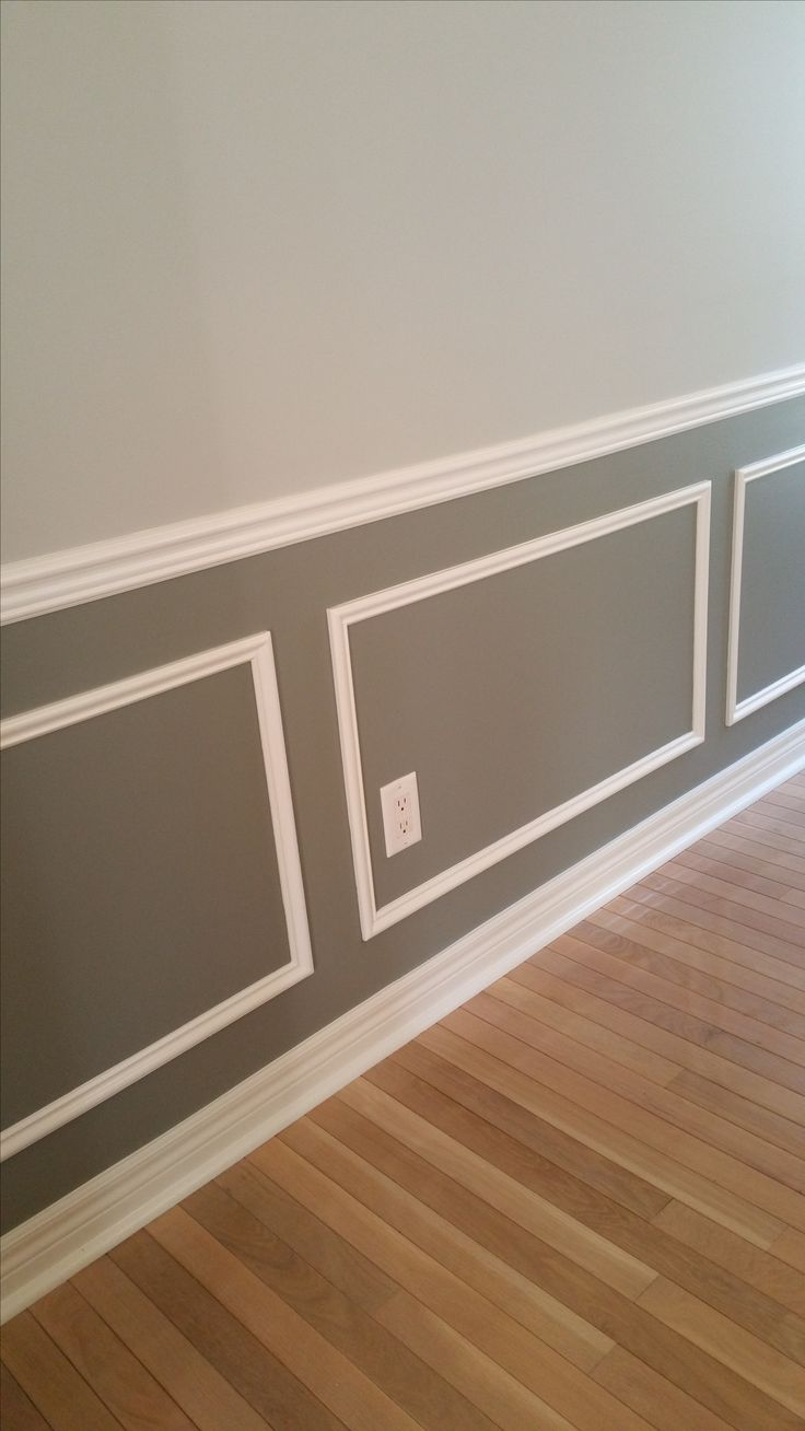 Wainscoting. Two tone grey and white look.  #greywalls #grey #twotone #wainscoting