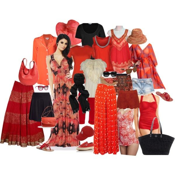 """red summer vacation wardrobe"" by jr-denson on Polyvore"