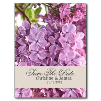 Violet lilac, save the date postcard