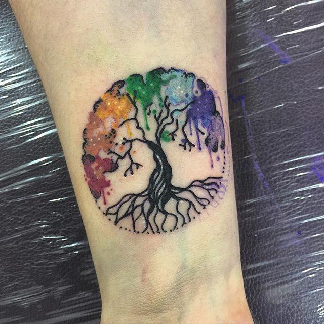 Tiny chakra tree from yesterday #tattoo #tattoos #tattooart #tattooing…