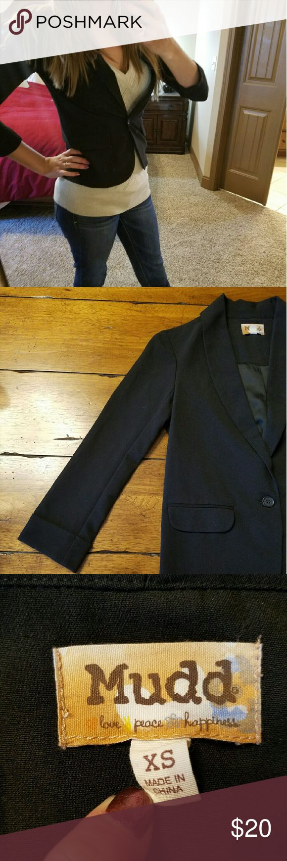 Bogo sale! Black Blazer 3/4 sleeve Black Blazer with one button.  Gently worn Mudd Jackets & Coats Blazers