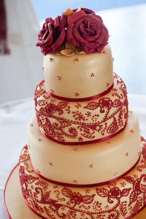 Gold and Red Indian Inspired Henna Wedding Cake