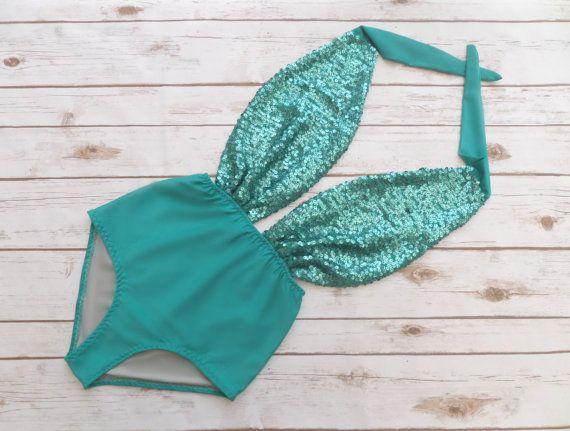 Badeanzug hoch taillierte Vintage-Stil  Jade grün von Bikiniboo