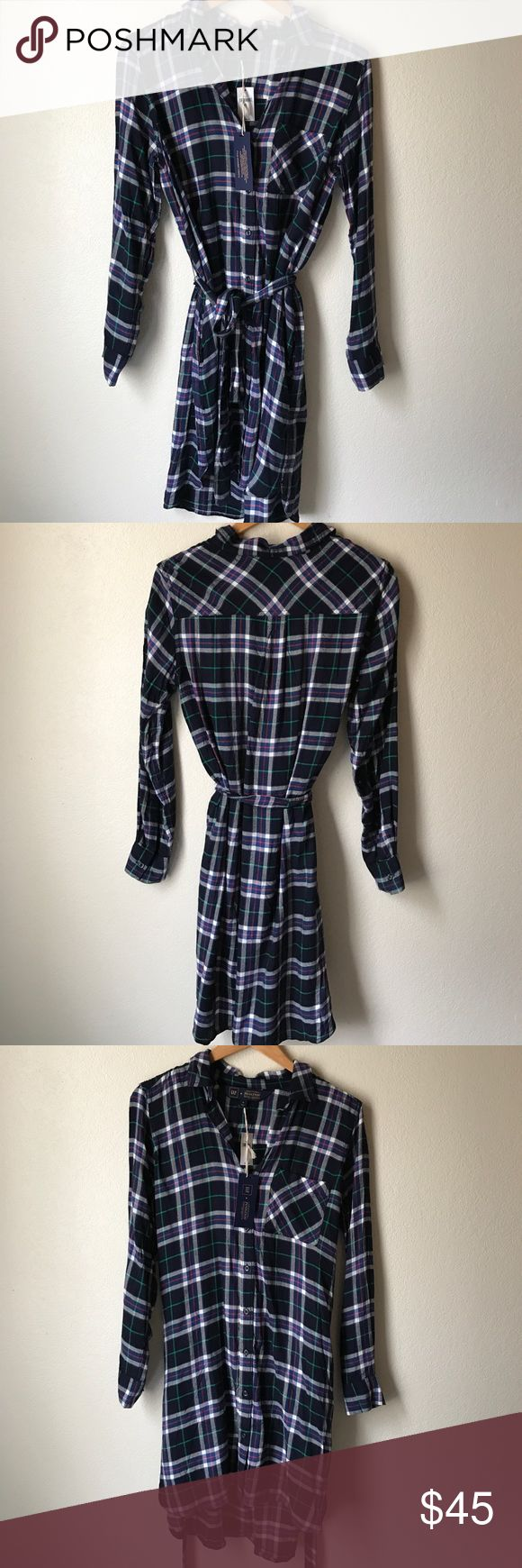NWT Gap + Pendleton flannel shirt dress This flannel shirt dress is from the Gap + Pendleton collaboration. Colors in plaid pattern are navy, green, red, and white. There are pockets on the hips and it comes with a tie belt. Brand new and never worn. ❌ no trades. GAP Dresses