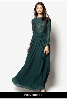 Lace Fit & Flare Chiffon Maxi Dress