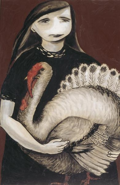 Joy Hester, Girl Holding Turkey, 1957