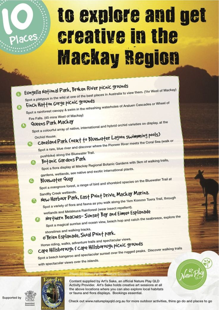 Nature Play QLD's Nature Playlists are outdoor play ideas of things to do and places to go for children, kids and families. Content for '10 Places  to explore and get creative in the Mackay Region' was supplied by Art's Sake. #natureplayqld